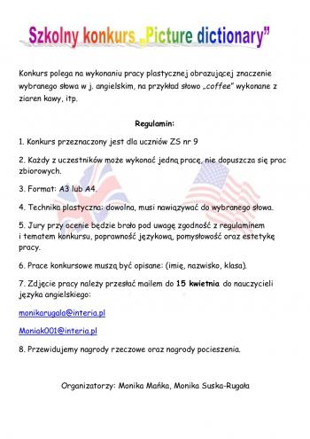 konkurs picture dictionary plakat
