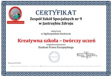 Certyfikat Ogólnopolski dla Zespołu Szkół Specjalnych
