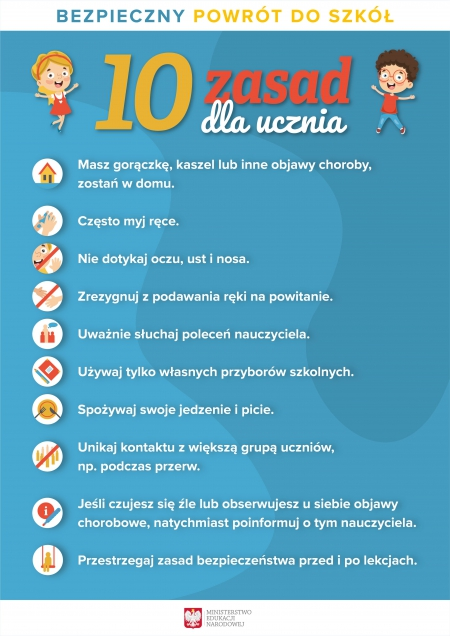 Bezpieczny powrót do szkoły - 10 zasad dla ucznia