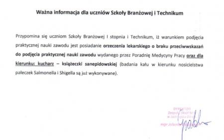 Informacja dla uczniów Szkoły Branżowej i Technikum